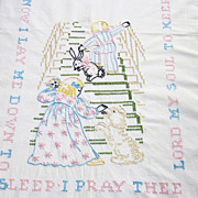 Embroidered Crib Quilt Nursery Rhyme Prayer Vintage Baby