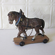 REDUCED Horse Pull Toy on Wheels Wooden Platform German