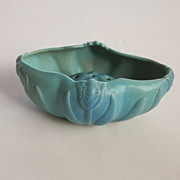 Van Briggle Art Pottery Ming Blue Tulip Bowl and Frog