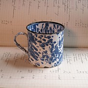 REDUCED Blue and White Graniteware Coffee Mug or Cup