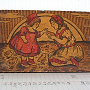 REDUCED Pyrography Flemish Art Box with Girls and Chicks