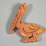 SOLD Large Bakelite Vintage Pelican Pin/Brooch Signed Johnny