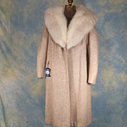 SOLD Luxurious 1950's Vintage Beige Clutch Coat w White Fox Collar by Stroock