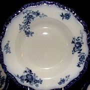 SOLD Set of 4 19th Century Flow Blue Soup Bowls: Booth's: Marlborough