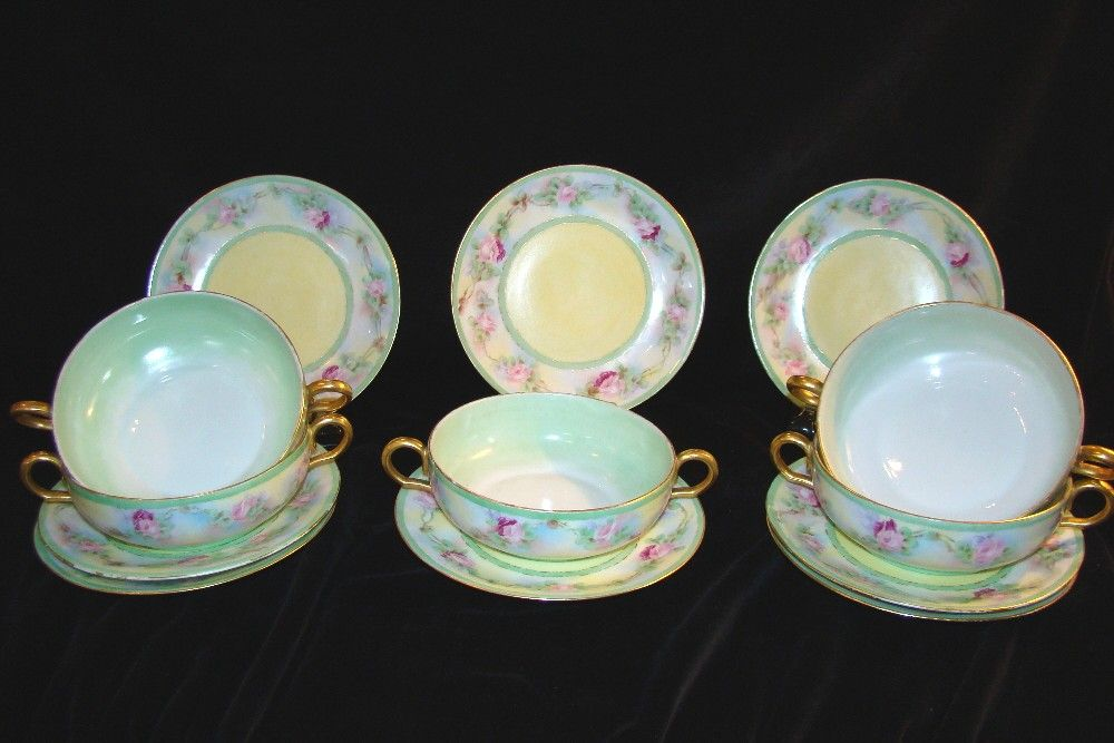 Limoges Bullion Cups & Under-plates,:Hand-painted: Signed