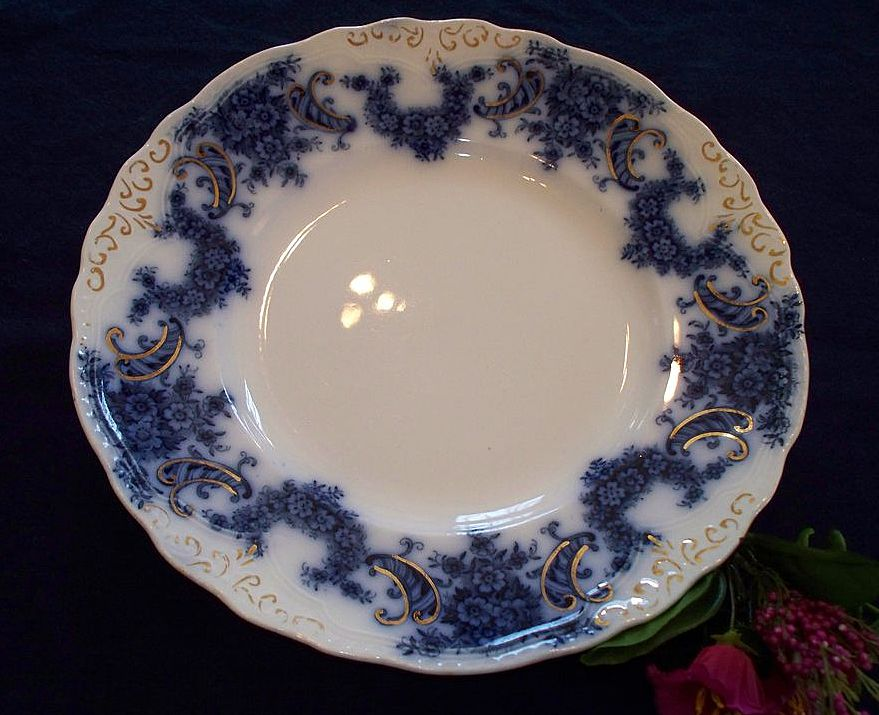 19th Century Flow Blue Dinner Plate:  New Wharf Pottery:  Nelson