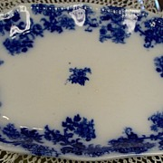 19th Century Flow Blue Platter; New Wharf Pottery; Lancaster