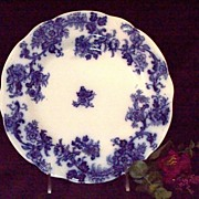19th Century Flow Blue Dinner Plate: New Wharf Pottery: Lancaster