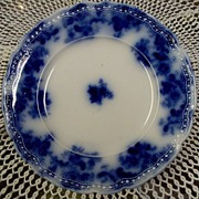 19th Century Flow Blue Dessert Plate:New Wharf Pottery: Lancaster