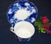 "19th Century Flow Blue Cup and Saucer: New Wharf Pottery: ""Lois"""
