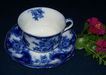 19th Century Flow Blue Cup and Saucer: New Wharf Pottery:  &quot;Lois&quot;