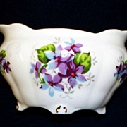 "Porcelain Footed Sugar Bowl: Royal Staffordshire: ""Sweet Violets"": Hand-Painted"