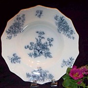 """Chatsworth"" Grindley Flow Blue Soup Bowl: Staffordshire"
