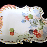 Vintage Porcelain Trinket Tray Hand Painted Blackberries