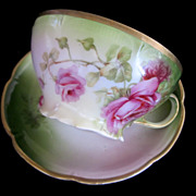 Vintage Bavarian Pink Roses Hand Decorated Cup & Saucer