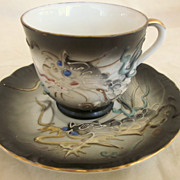 Vintage Japon Dragonware Cup and Saucer Blue Eyed Dragon
