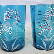 Pair of Victorian Hand Painted Enamel Leaded Glass Paneled Tumblers
