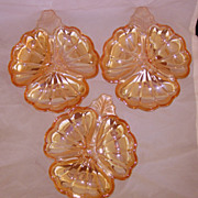 Three Jeannette Marigold Carnival Glass Clover Dishes