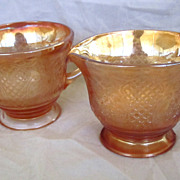 Federal Glass Normandie Depression Glass Iridescent Creamer & Sugar