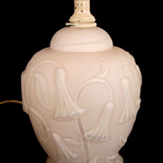 Vintage Molded Floral Pink Satin Glass Lamp