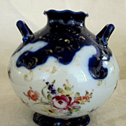 Early Nippon Hand Painted Cobalt & Floral Vase