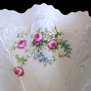 Ornate Austrian Celery Dish with Roses & Forget-me-not