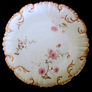 SOLD 19th C. Limoges Cabinet Plate Enameled Flowers & Gold