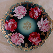 Antique Open Handled Plate Shabby Cabbage Roses & Enamel