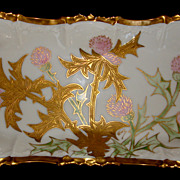 Ornate Limoges Celery Tray Hand Painted Thistles & Etched Gold ca.1900 Mint