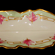 1890s Limoges Porcelain Leaf Shaped Dish Floral & Gold Overlay