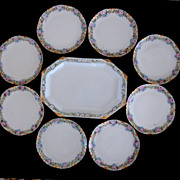 Haviland France 9 piece Dessert Set + Bonus Platter Hand Painted Roses