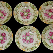 Set of Six Vintage Porcelain Floral Berry Bowls Germany