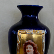 Josef Strnact JS Austria Cobalt & Gold Portrait Vase