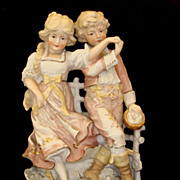 SOLD Antique German All Bisque Piano Baby Figurine Boy and Girl Dancing