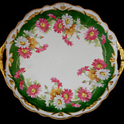 Coronet Limoges Hand Painted Floral Cake Plate with Embossed Flower Bouquets