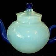 Fry Foval Opalescent Glass Teapot with Delft Blue Handles & Spout