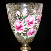 Hand Painted Crackle Glass Vase on Silver Pedestal Base