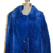 Lapis BLUE Sheared Muskrat Stroller Jacket Coat