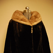 Dark brown sheared Muskrat Jacket, coat, Blush mink collar