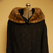Black Persian jacket coat w  Mink collar