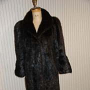 Swing style Black /Brown Nutria Fur Coat