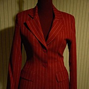 Christian Dior Wool Double Breasted Burgundy Suit w Skirt Sz 8