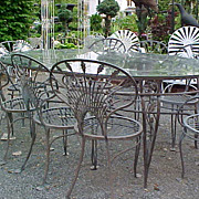 Salterini wrought iron &quot;Riviera&quot; Patio Set - Extra large table, 8 chairs