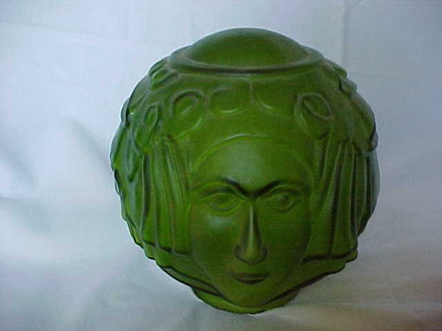 art deco lady face green glass lamp shade. Black Bedroom Furniture Sets. Home Design Ideas