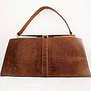 Vintage Brown Faux Lizard Purse Large Classic Kelly Bag Style