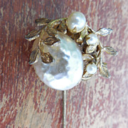 Vintage Miriam Haskell Stickpin With Faux Pearl and Leaves