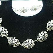 835 Silver Beautiful Two Tone Cannetille & Marcasite Necklace