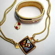 Gorgeous Signed Swarovski Enamel and Crystal Nautical Bracelet and Pendant