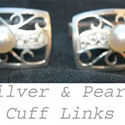 Vintage Real Pearl Filigreed Silver Cuff Links