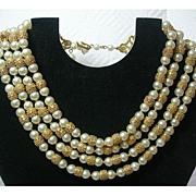 Gorgeous 4 Strand Trifari Necklace with Textured Gold and Faux Pearl Beads